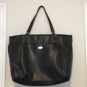 Black, high grade leather Coach oversized tote bag